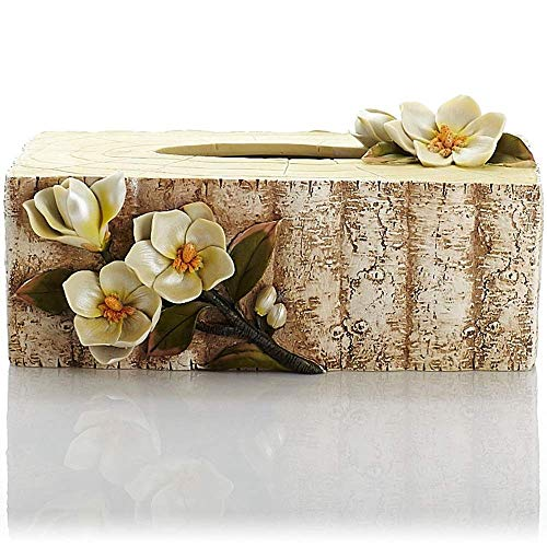 Paper Box, Resin Rectangular Magnolia Wedding Decoration Decoration Tray Tissue Box (Color : A)