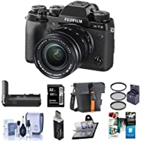 Fujifilm X-T2 Mirrorless Digital Camera with 18-55mm Lens - Bundle with Fuji Vertical Power Grip, Camera Case, 32GB SDHC U3 Card, Cleaning Kit, Memory Wallet, Card Reader, Software,58mm Filter Kit