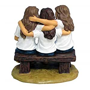 4.25 Inch Best Friends Forever Blue Jeans Girls on Bench Figurine