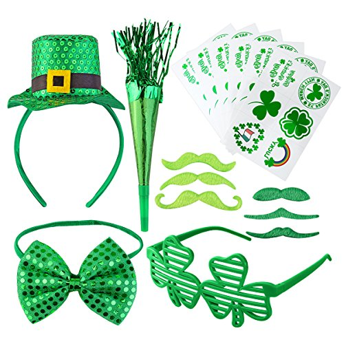 46Pcs St. Patrick's Day Accessories Set Party Supplies with Shamrock Tattoos, Green Mustaches, Hair Hoop, Glasses, Horn and Bow Tie