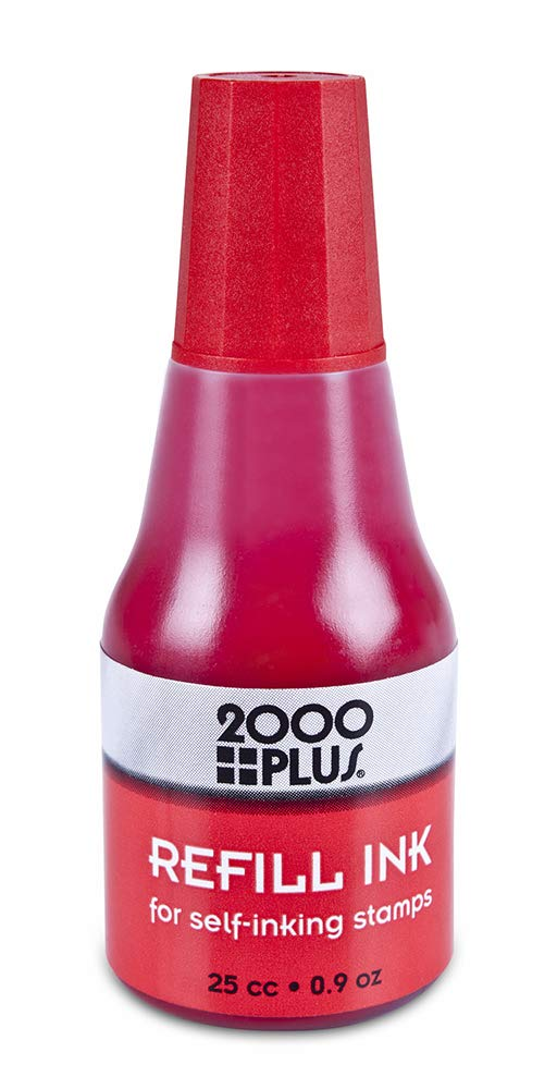 2000 PLUS Ink Refill for Self-Inking Stamps and Stamp Pads, Red, 0.9oz (032960)