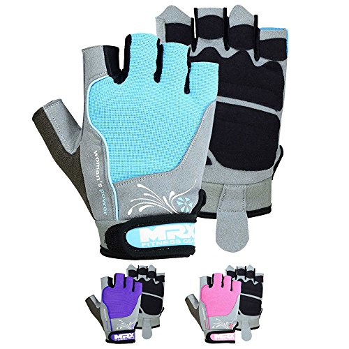 Pro Fin Spring Strap - MRX BOXING & FITNESS Mrx Women's Weight Lifting Gloves Workout Exercise & Fitness Pro Series (Sky Blue, Medium)