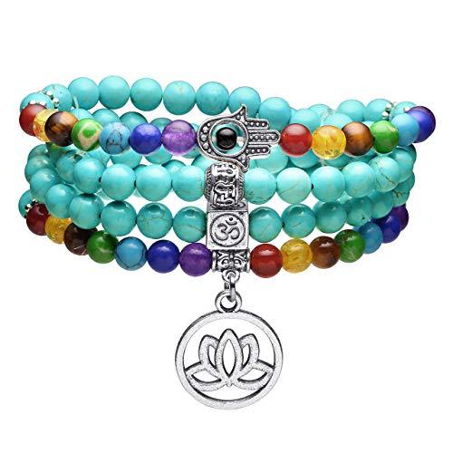 Top Plaza 108 Mala Prayer Beads 7 Chakra Healing Crystals Yoga Meditation Stretch Bracelets Green Turquoise Gemstone Beads Wrap Bracelet Necklace ()