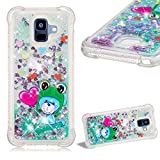 Cistor Glitter Liquid Case for Samsung Galaxy A6 Plus 2018,Luxury Bling Floating Love Heart Quicksand Animals Painting Cover Anti-Scratch Transparent Soft TPU Case for Samsung Galaxy A6 Plus 2018,Frog
