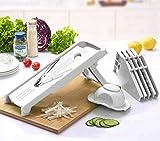 vegi slicer - Mandoline Slicer w/ 5 Blades - Vegetable Slicer - Food Slicer - Vegetable Cutter - Cheese Slicer - Vegetable Julienne Slicer with 5 Surgical Grade Stainless Steel Blades (White)