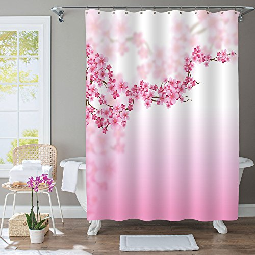 MitoVilla Pink Cherry Blossom Decorative Shower Curtain, Flower Pattern Digital Printing Water Resistant Antimicrobial Fabric Spring Theme with 12 Hooks, 72x72 (Spring Blossom Pattern)