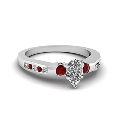 Silvergemking 14k White Gold Pl 1 Ctw Pear Cut White Cz Red Ruby