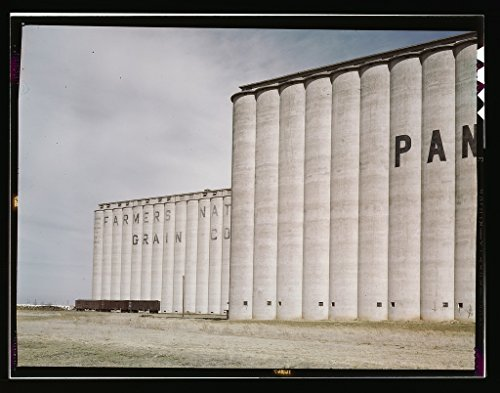 Vintography Reproduced Photo of Grain Elevators Near Amarillo, Texas; Santa Fe Trip 1943 Delano C Jack 06a ()