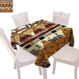"""cobeDecor Primitive Stain Resistant Wrinkle Tablecloth Tribal Ethnic African Hunting Zebra Spear Arrow Prehistoric Tribe Life Theme Square Wrinkle Resistant Tablecloth 36""""x36"""" Ruby Mustard"""