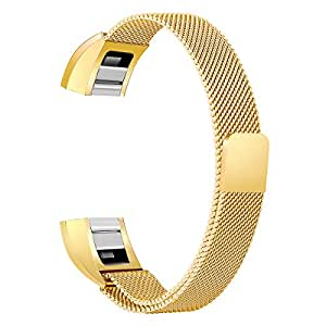 bayite Stainless Steel Bands Compatible Fitbit Alta and Alta HR, Milanese Loop Mesh Women Men(Gold Large)
