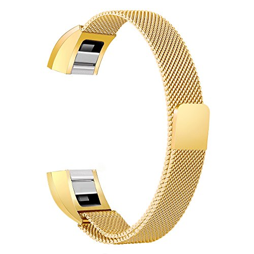 Fits Metal (bayite For Fitbit Alta HR and Alta Bands, Replacement Milanese Loop Stainless Metal Mesh Bands Women Men Small Gold)
