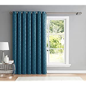 "HLC.ME Redmont Lattice Extra Wide-Width Thermal Blackout Grommet Patio Door Curtain Panel for Sliding Door - 102"" W x 84"" inch Long (Teal Blue)"