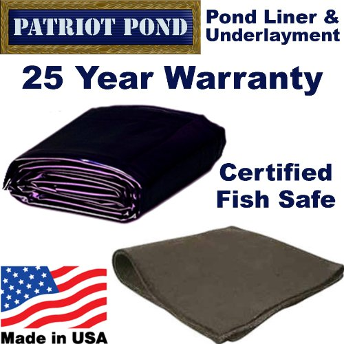 25 x 30 45 mil EDPM Patriot Pond Liner & Underlayment Combo by Patriot