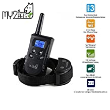 Anti-Bark Dog Training Collar 500 Yard Remote Control with Beep, Vibration and Electric Shock modes, adjustable for small medium and large dogs (10-100Ibs), 100% Waterproof, and Rechargeable Battery - by My2Pets