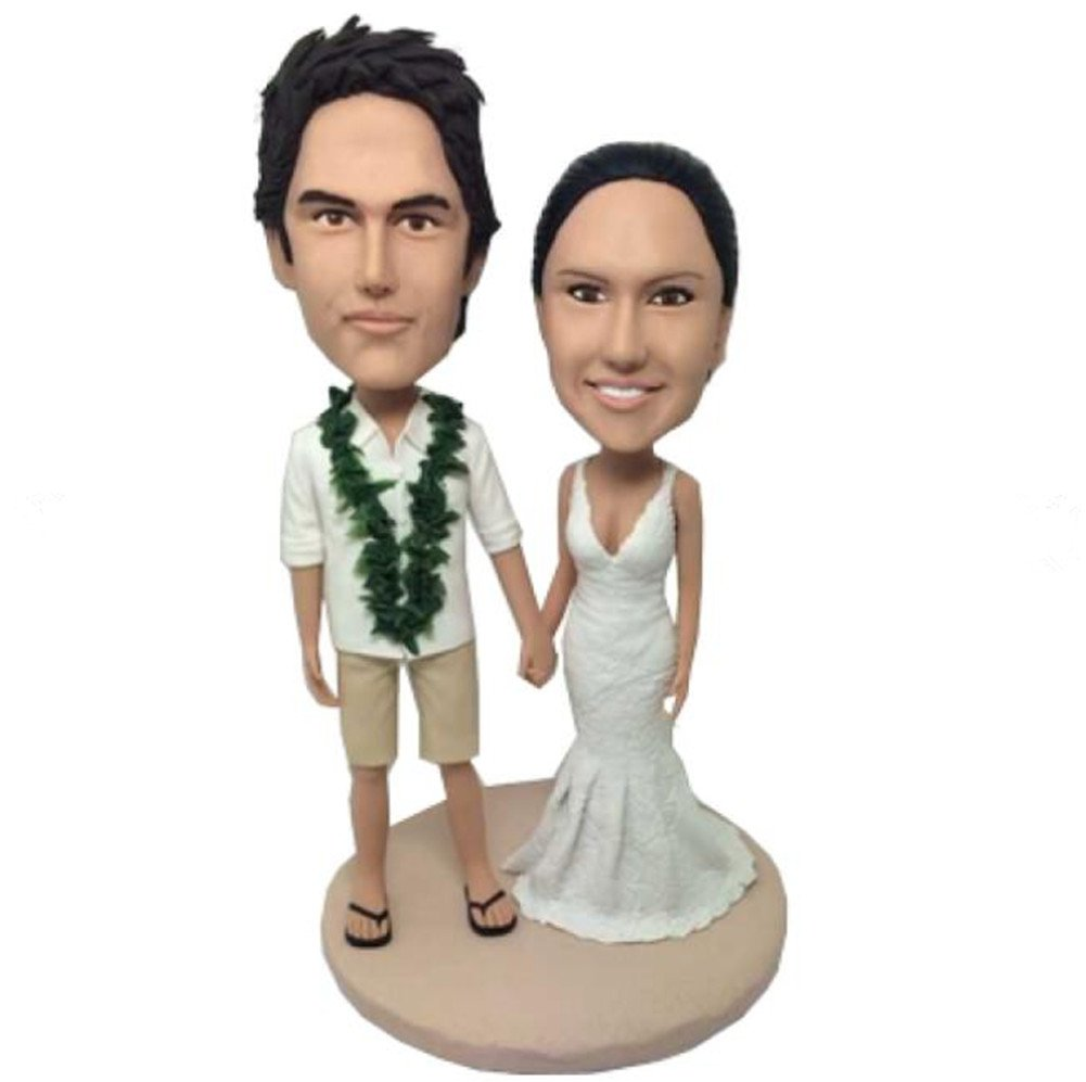 Custom Hawaiian Wedding Bobblehead Polymer Clay Bobbleheads Cake Toppers by MiniBobbleheads (Image #1)