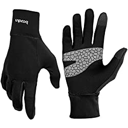 Light Sports Gloves Running Gloves WARM UP by Boodun Running Gloves Unisex Slim Sports Gloves Jogging Gloves for Women and Men with Touchscreen Function and Anti-slip Function - Black - L/XL