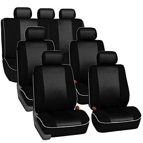 FH GROUP FH-FB063217 Three Row Cloth Car Seat Covers with Piping Airbag & Split Ready Black- Fit Most Car, Truck, Suv, or Van