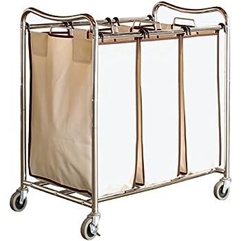 DecoBros Heavy Duty 3 Bag Laundry Sorter Cart, Chrome