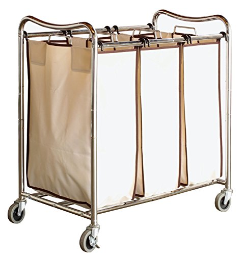 DecoBros Heavy-Duty 3-Bag Laundry Sorter Cart, Chrome