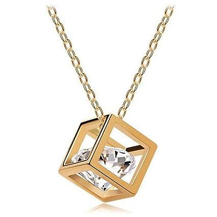 TINGSU - Collar de aleación con colgante cuadrado de cristales y diamantes de imitación para mujer