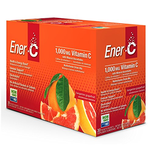 Ener-C Tangerine Grapefruit Effervescent Multivitamin Non-GMO Gluten-Free Vegan Powdered Fruit Juice Drink Mix for Immune Support and Hydration with Electrolytes 30 (Effervescent Drink Mix)