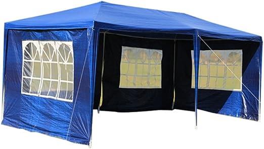MCTECH 3 x 6 m blu tenda esterno Tenda da giardino Padiglione Tenda birra Tenda gazebo con 4 pareti laterali 4 finestre,copertura PE impermeabile