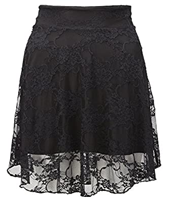 Janisramone Women Plus Size Floral Lace Skater Mini Skirt