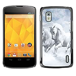LOVE FOR LG Nexus 4 E960 White Horses Sky Nature Clouds God Personalized Design Custom DIY Case Cover