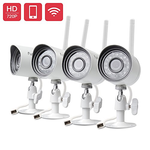 Funlux 720p HD Outdoor Wireless Home Security Camera Surveillance Video Cameras System (4 Pack)