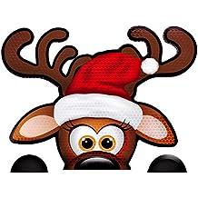 "Bigtime Signs Fun Jumbo Reflective Magnetic Peek-A-Boo Reindeer Christmas Car Decorations Kit | Funny Santa's Helper Face + 2 Hooves | Reindeer Holiday Automotive Magnet (6.5"" x 8.5"" Peek-A-Boo)"