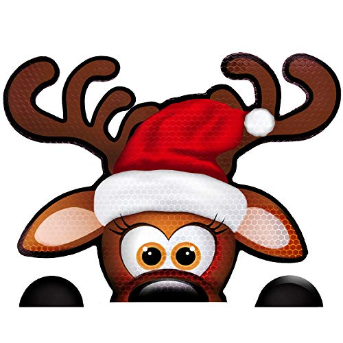 Bigtime Signs Fun Jumbo Reflective Magnetic Peek-A-Boo Reindeer Christmas Car Decorations Kit | Funny Santa's Helper Face + 2 Hooves | Reindeer Holiday Automotive Magnet (6.5