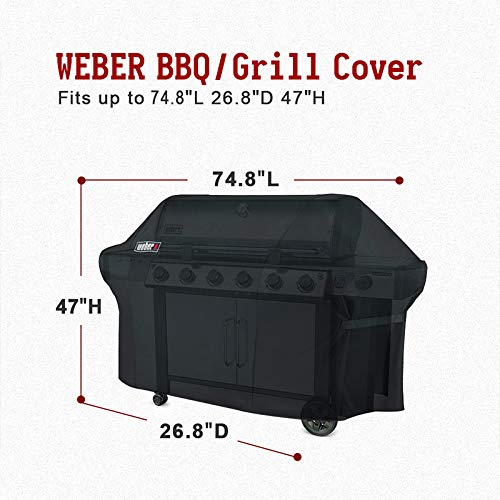 Weber 7109 Grill Cover with Storage Bag for Summit 600-Series Gas Grills(74.8 x 26.8 x 47 inches