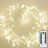 LED Fairy Lights Battery Operated 33Ft 100er with Remote Timer Dimmer Warm White Lights IP65 Waterproof, 8Modes for Indoor and Outdoor