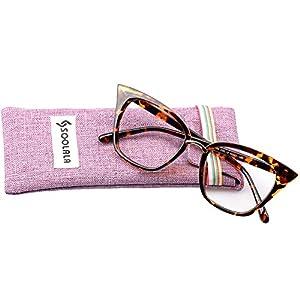 SOOLALA Womens Quality Readers Stylish Oversized Cat Eye Custom Reading Glasses, Leopard, 2.75x