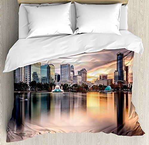 American 4 Piece Bedding Set Duvet Cover Set King Size, USA Florida Downtown City Skyline View from the Lake Foggy Scenic Panorama, Luxury Bed Sheet for Childrens/Kids/Teens/Adults, Teal Peach Grey