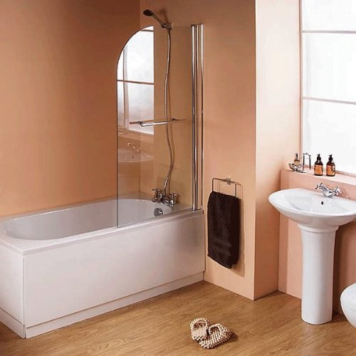 Single Ended Straight Bathtub + Shower Screen - White 5mm Thick Acrylic Compact Combination Bathroom Tub Modern Luxury Small Spacesaver Design 6mm Glass Hinged Screen Panel (Bath Length: 1500mm , Wid by Better Bathrooms ® (Image #1)