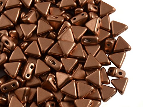 50pcs Kheops Par Puca Beads - Czech Pressed Glass Beads of Triangular Shape, with Two Holes, 6 mm, Crystal Bronze Copper Matte