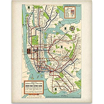 Amazon.com: New York City Subway Map 20x23 Framed and Double Matted ...