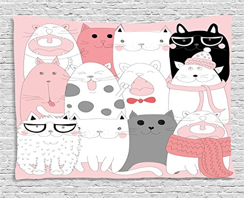 Cat Tapestry by Ambesonne, Cute Cartoon Kittens Collection Funny Smiling Glasses Scarfs Doodle Humor, Wall Hanging for Bedroom Living Room Dorm, 60 W X 40 L Inches, Light Pink White - And Cat With White Glasses Black