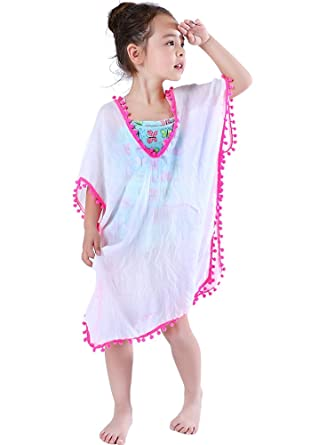 9fb4486eb7 Amazon.com: MissShorthair Fashion Girls' Cover-ups Swimsuit Wraps Beach  Dress Top with Pompom Tassel: Clothing