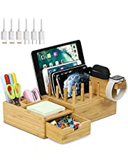 Bamboo USB Charging Station for Multiple Devices with iWatch&Airpod Stand   Fast Charge Docking Station&Organizer with 7 USB Ports for Smart Phones and Tablets, Storage Drawer, Pen Holders and Tag Pad