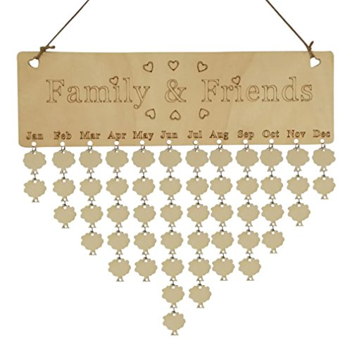Boomboom Wood Birthday Reminder Board Diy Calendar For Family Or Friends Gifts  B