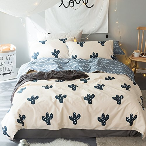 LELVA Queen Duvet Cover Set Kids Quilt Cover with Fitted Sheet Cactus Pattern Bedding for Boys and Girls 4 Piece Cotton - Comforter Cover 6 Piece Bedding