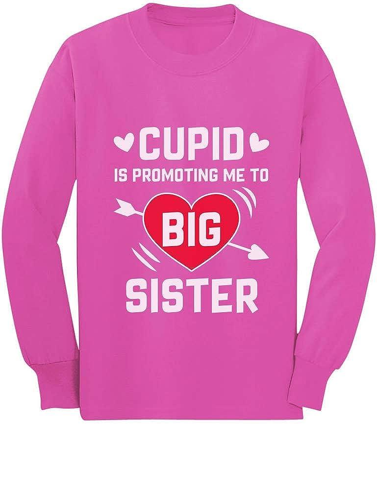 Tstars Big Sister Gift Cupid is Promoting Me Toddler//Kids Long Sleeve T-Shirt