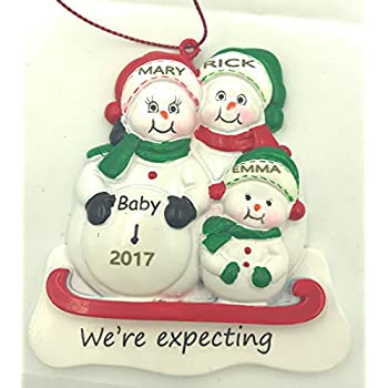 Amazon.com: Pregnant We're Expecting Snowmen Family of 3 Christmas ...