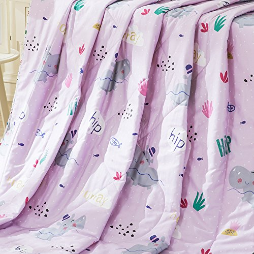 LOVO Child Bedspread Stitched Printed Quilt Summer Lightweight Bedding Coverlet For kid, Pink, Full