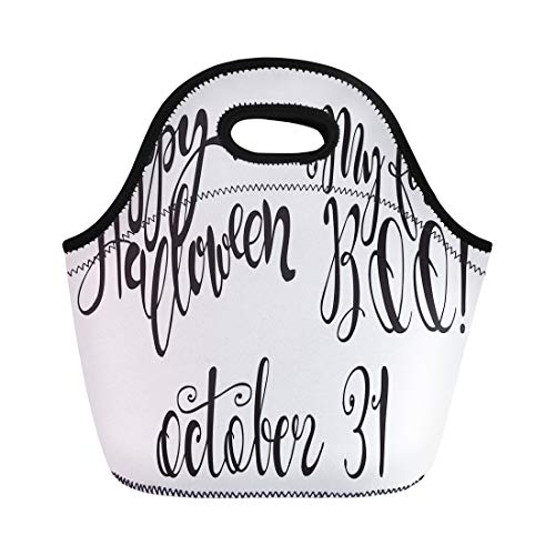 Semtomn Lunch Bags Halloween Labels Inscriptions and Quotes Happy My First Boo Neoprene Lunch Bag Lunchbox Tote Bag Portable Picnic Bag Cooler Bag]()