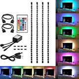 WensLTD_ New 50-200CM USB LED Strip Light TV Back Lamp 5050RGB Colour Changing+Remote Control (50CM, Non-Waterproof)