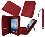 rooCASE Executive Portfolio (Red) Genuine Leather Case Cover and (Red) Capacitive Stylus for Apple iPad Mini 7.9-Inch Tablet (Built-in sleep / wake feature)