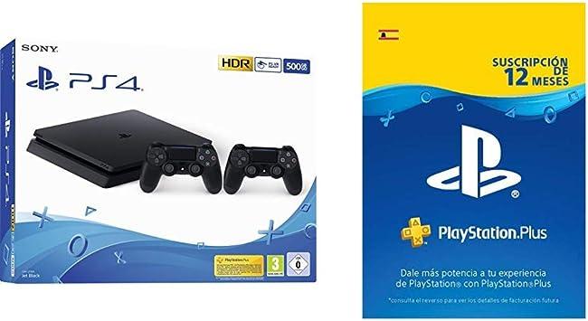 Playstation 4 Consola (500 Gb) + 2 Mandos DualShock 4 + PS Plus Suscripción 12 Meses: Amazon.es: Videojuegos